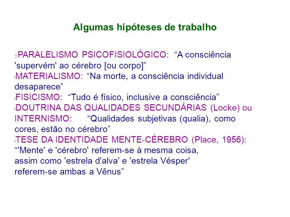 Algumas hipóteses de trabalho PARALELISMO PSICOFISIOLÓGICO: A consciência supervém ao cérebro [ou corpo] MATERIALISMO: Na morte, a consciência individual desaparece FISICISMO: Tudo é físico, inclusive a consciência DOUTRINA DAS QUALIDADES SECUNDÁRIAS (Locke) ou INTERNISMO: Qualidades subjetivas (qualia), como cores, estão no cérebro l TESE DA IDENTIDADE MENTE-CÉREBRO (Place, 1956): Mente e cérebro referem-se à mesma coisa, assim como estrela d alva e estrela Vésper referem-se ambas a Vênus