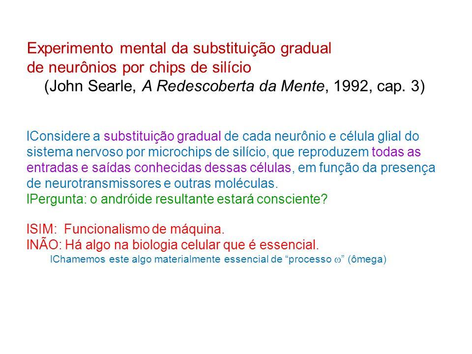 Experimento mental da substituição gradual de neurônios por chips de silício (John Searle, A Redescoberta da Mente, 1992, cap. 3) Considere a substitu