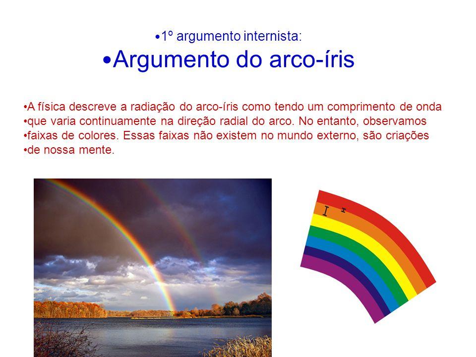 1º argumento internista: Argumento do arco-íris A física descreve a radiação do arco-íris como tendo um comprimento de onda que varia continuamente na direção radial do arco.
