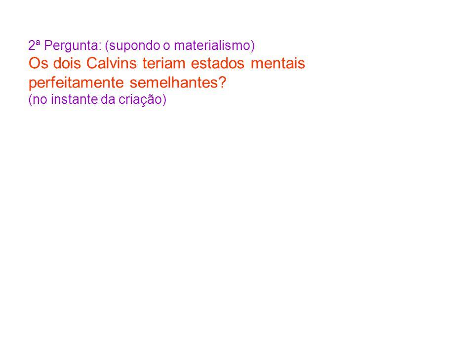 2ª Pergunta: (supondo o materialismo) Os dois Calvins teriam estados mentais perfeitamente semelhantes? (no instante da criação)