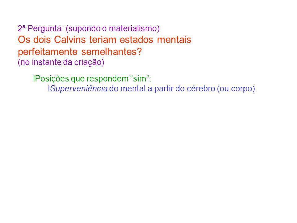 2ª Pergunta: (supondo o materialismo) Os dois Calvins teriam estados mentais perfeitamente semelhantes? (no instante da criação) Posições que responde