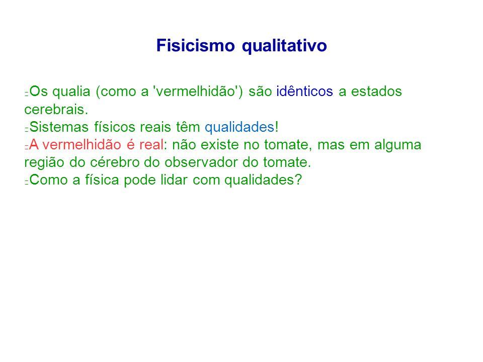 Fisicismo qualitativo Os qualia (como a vermelhidão ) são idênticos a estados cerebrais.