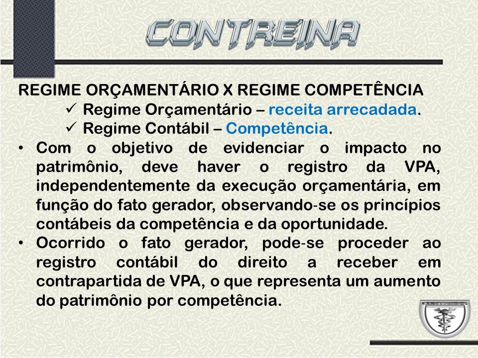 REGIME ORÇAMENTÁRIO X REGIME COMPETÊNCIA Regime Orçamentário – receita arrecadada. Regime Contábil – Competência. Com o objetivo de evidenciar o impac