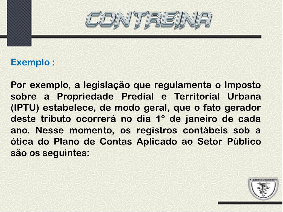 Exemplo : Por exemplo, a legislação que regulamenta o Imposto sobre a Propriedade Predial e Territorial Urbana (IPTU) estabelece, de modo geral, que o