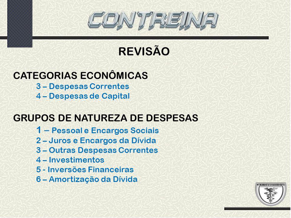 REVISÃO CATEGORIAS ECONÔMICAS 3 – Despesas Correntes 4 – Despesas de Capital GRUPOS DE NATUREZA DE DESPESAS 1 – Pessoal e Encargos Sociais 2 – Juros e