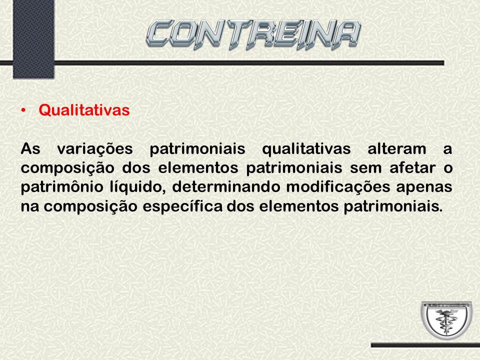 Qualitativas As variações patrimoniais qualitativas alteram a composição dos elementos patrimoniais sem afetar o patrimônio líquido, determinando modi
