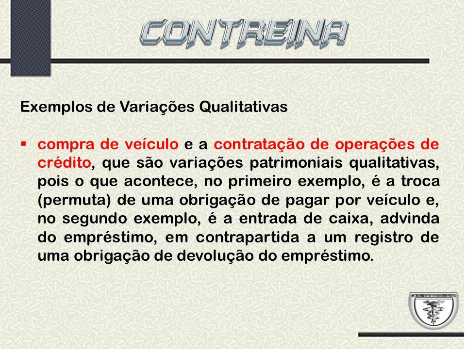 Exemplos de Variações Qualitativas  compra de veículo e a contratação de operações de crédito, que são variações patrimoniais qualitativas, pois o qu