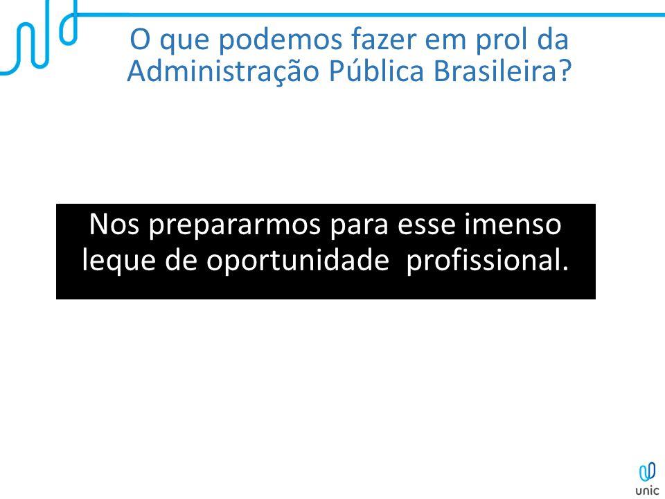 O que podemos fazer em prol da Administração Pública Brasileira? Nos prepararmos para esse imenso leque de oportunidade profissional.