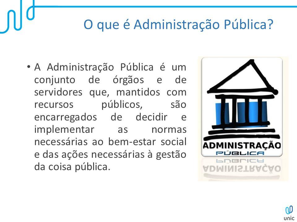 O que é Administração Pública? A Administração Pública é um conjunto de órgãos e de servidores que, mantidos com recursos públicos, são encarregados d