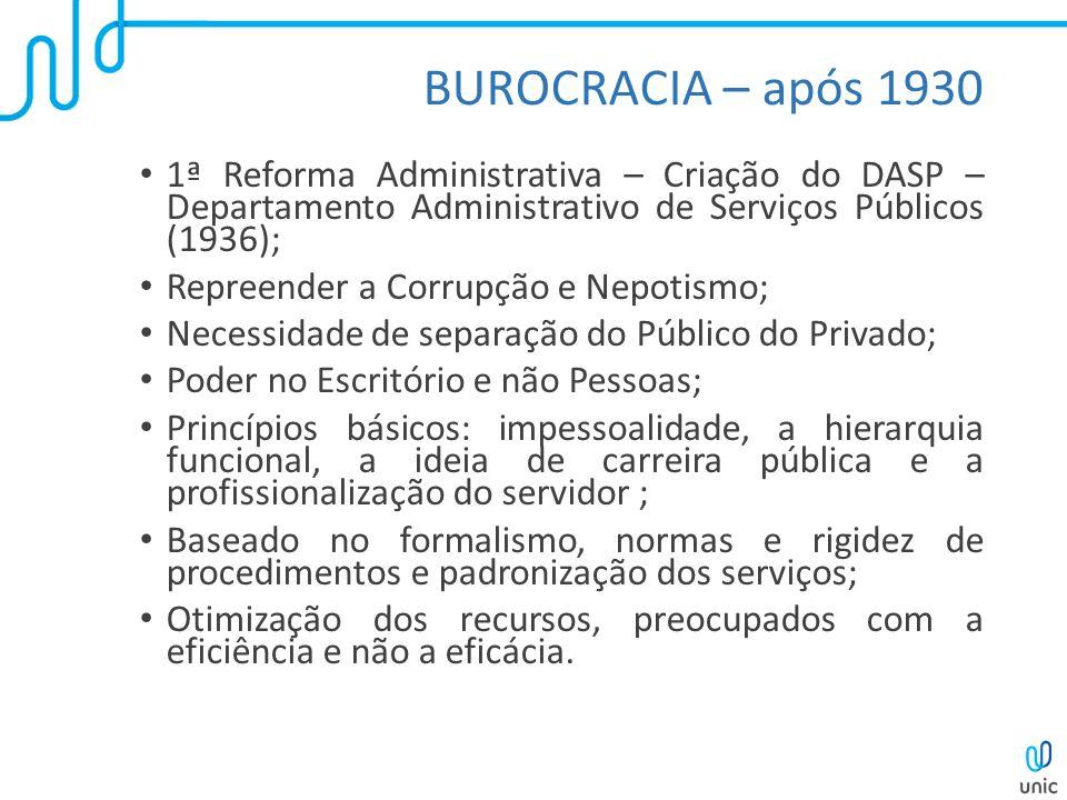 BUROCRACIA – após 1930 1ª Reforma Administrativa – Criação do DASP – Departamento Administrativo de Serviços Públicos (1936); Repreender a Corrupção e