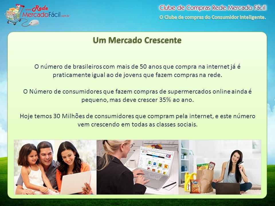 Um Mercado Crescente O número de brasileiros com mais de 50 anos que compra na internet já é praticamente igual ao de jovens que fazem compras na rede