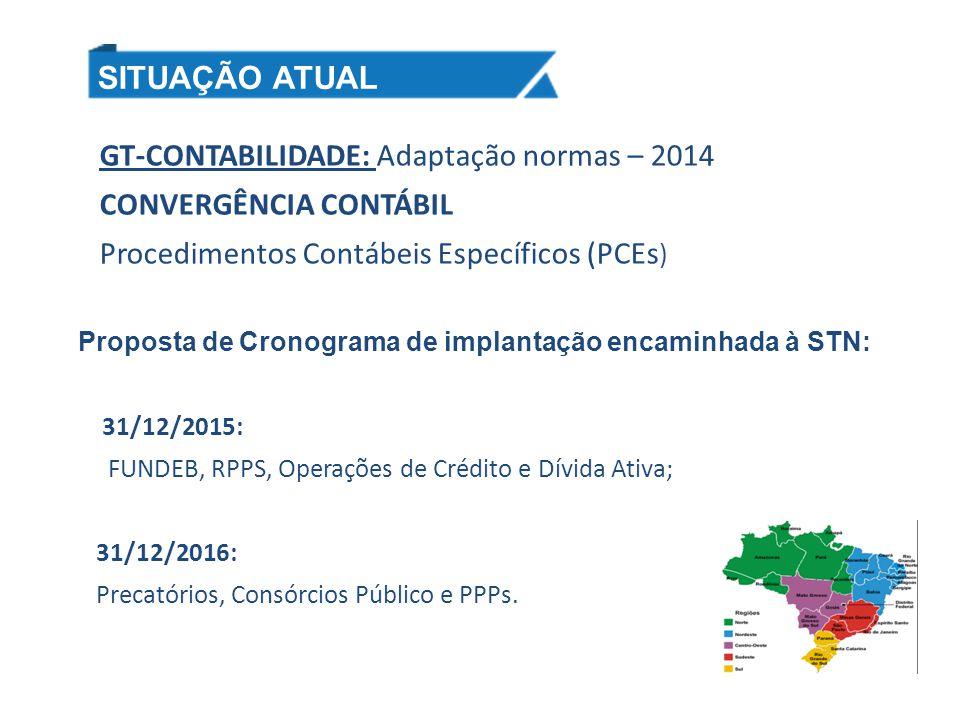 GT-CONTABILIDADE: Adaptação normas – 2014 CONVERGÊNCIA CONTÁBIL Procedimentos Contábeis Específicos (PCEs ) Proposta de Cronograma de implantação enca