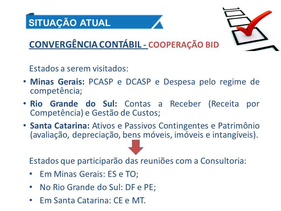 CONVERGÊNCIA CONTÁBIL - COOPERAÇÃO BID Estados a serem visitados: Minas Gerais: PCASP e DCASP e Despesa pelo regime de competência; Rio Grande do Sul: