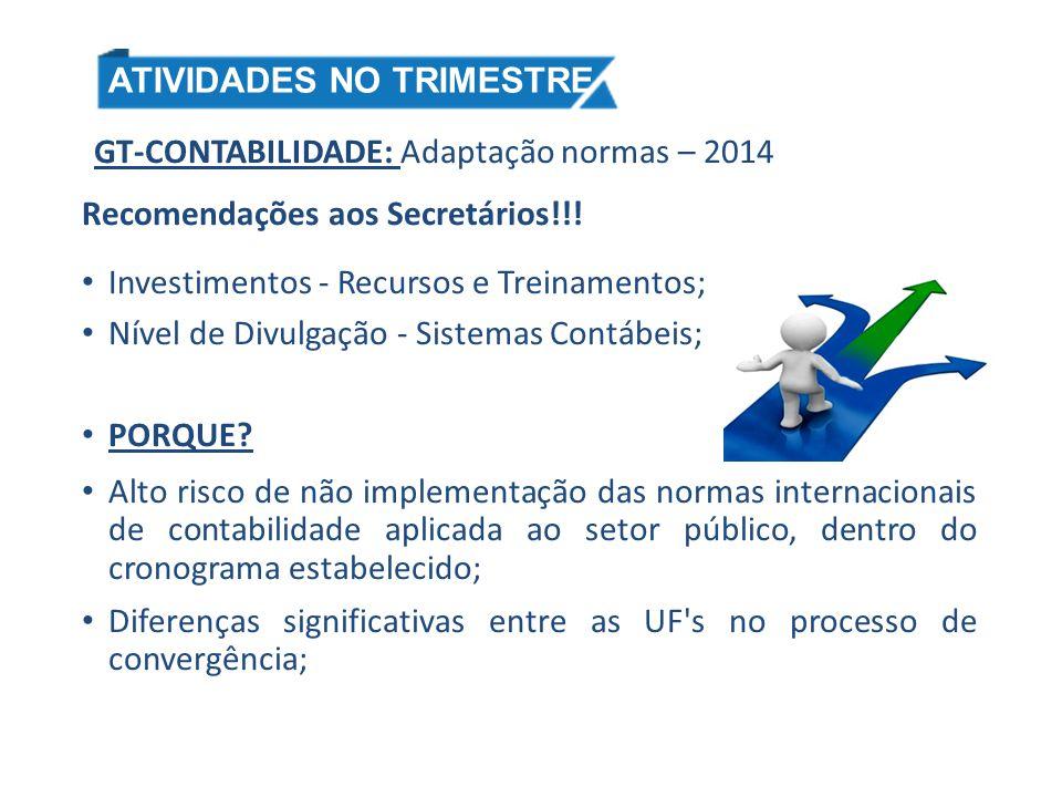 GT-CONTABILIDADE: Adaptação normas – 2014 Recomendações aos Secretários!!! Investimentos - Recursos e Treinamentos; Nível de Divulgação - Sistemas Con