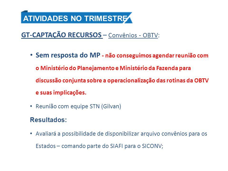 GT-CAPTAÇÃO RECURSOS – Convênios - OBTV : Sem resposta do MP - não conseguimos agendar reunião com o Ministério do Planejamento e Ministério da Fazend