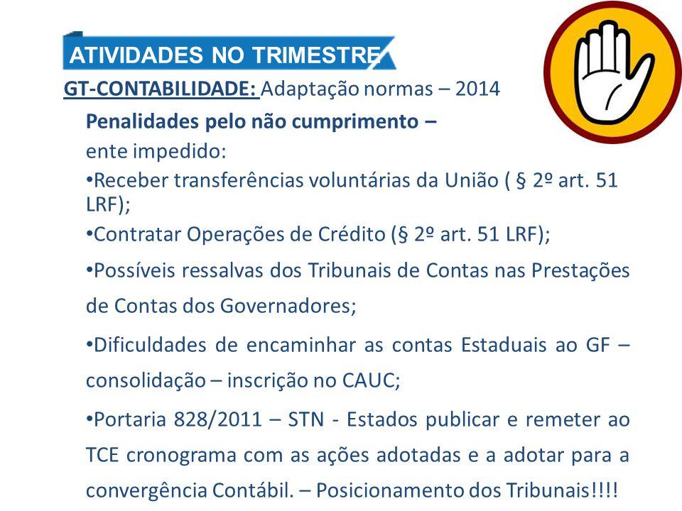 GT-CONTABILIDADE: Adaptação normas – 2014 Penalidades pelo não cumprimento – ente impedido: Receber transferências voluntárias da União ( § 2º art. 51