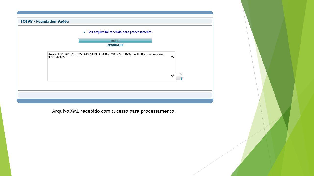 Arquivo XML recebido com sucesso para processamento.
