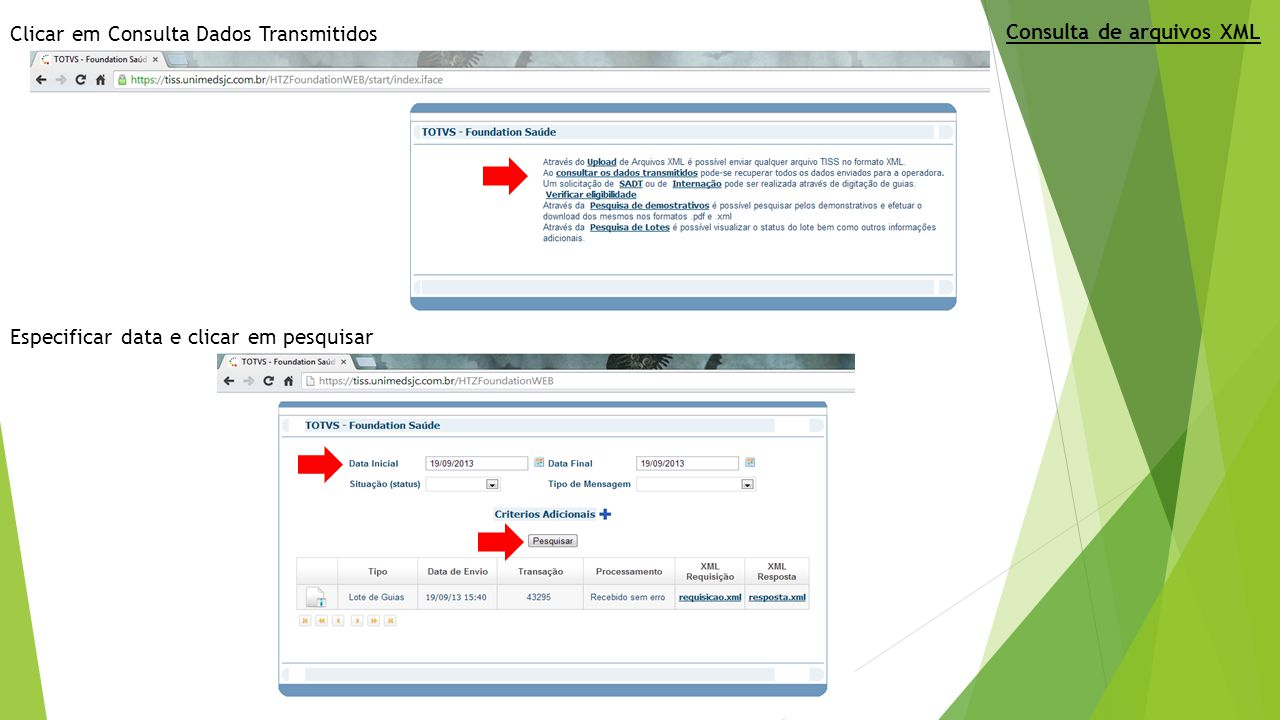 Detalhes de um arquivo enviado e número de protocolo gerado Consulta de arquivos XML