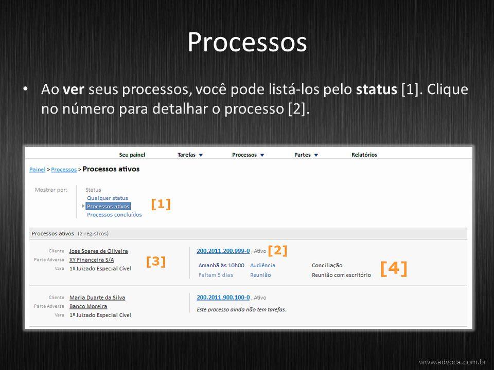 Processos Ao ver seus processos, você pode listá-los pelo status [1]. Clique no número para detalhar o processo [2]. www.advoca.com.br