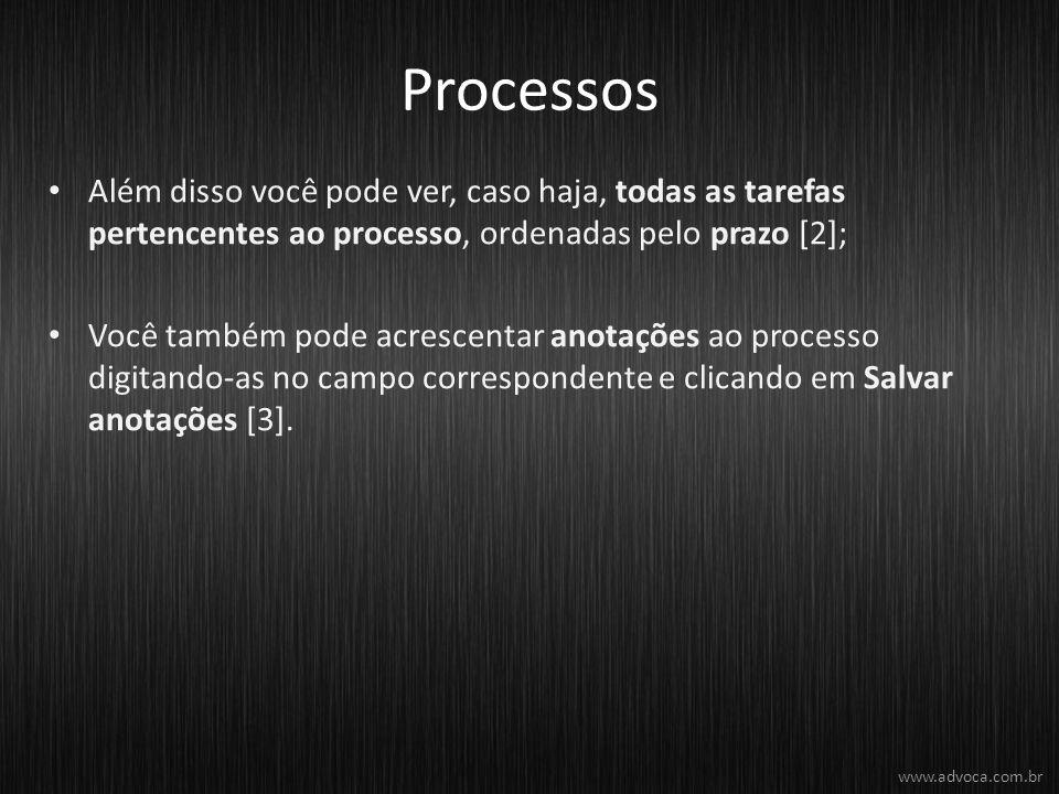 Processos Além disso você pode ver, caso haja, todas as tarefas pertencentes ao processo, ordenadas pelo prazo [2]; Você também pode acrescentar anotações ao processo digitando-as no campo correspondente e clicando em Salvar anotações [3].