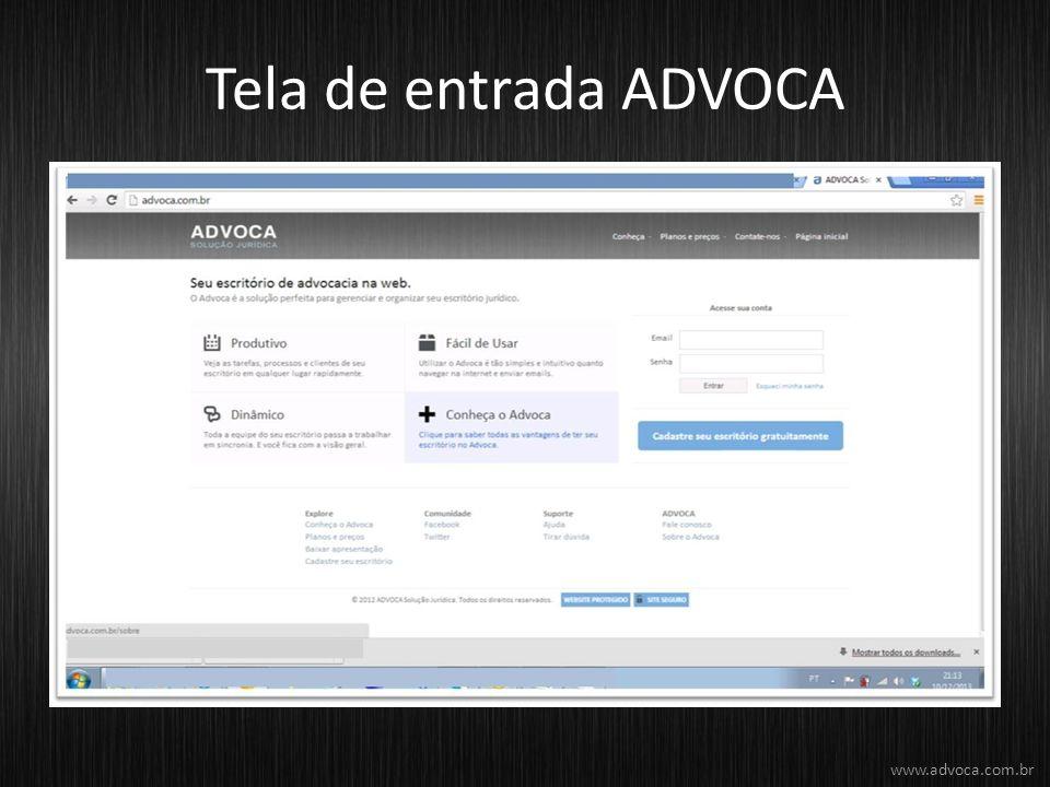 Tela de entrada ADVOCA www.advoca.com.br
