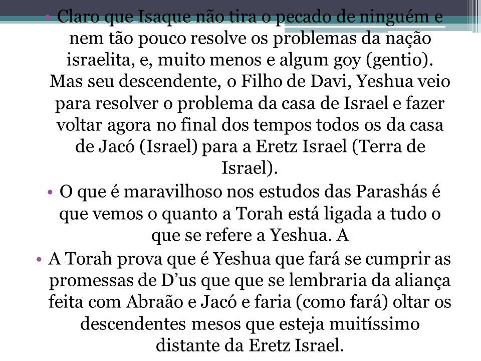 Claro que Isaque não tira o pecado de ninguém e nem tão pouco resolve os problemas da nação israelita, e, muito menos e algum goy (gentio). Mas seu de
