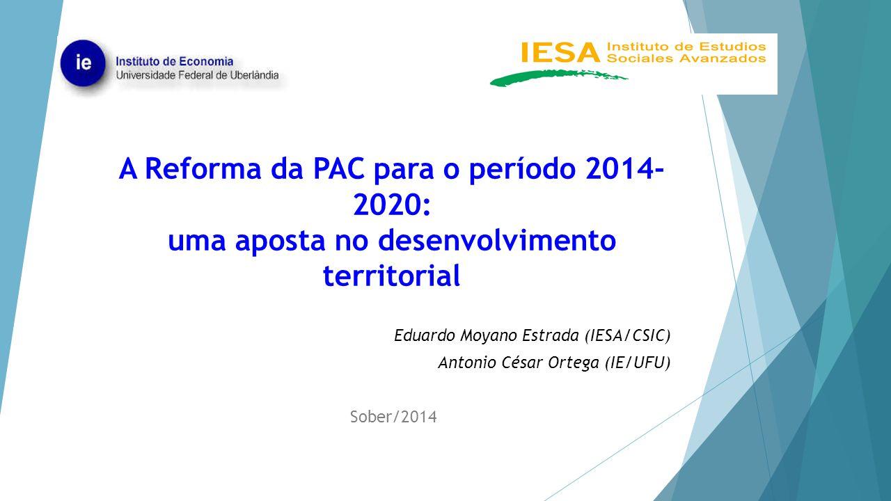 A Reforma da PAC para o período 2014- 2020: uma aposta no desenvolvimento territorial Eduardo Moyano Estrada (IESA/CSIC) Antonio César Ortega (IE/UFU)