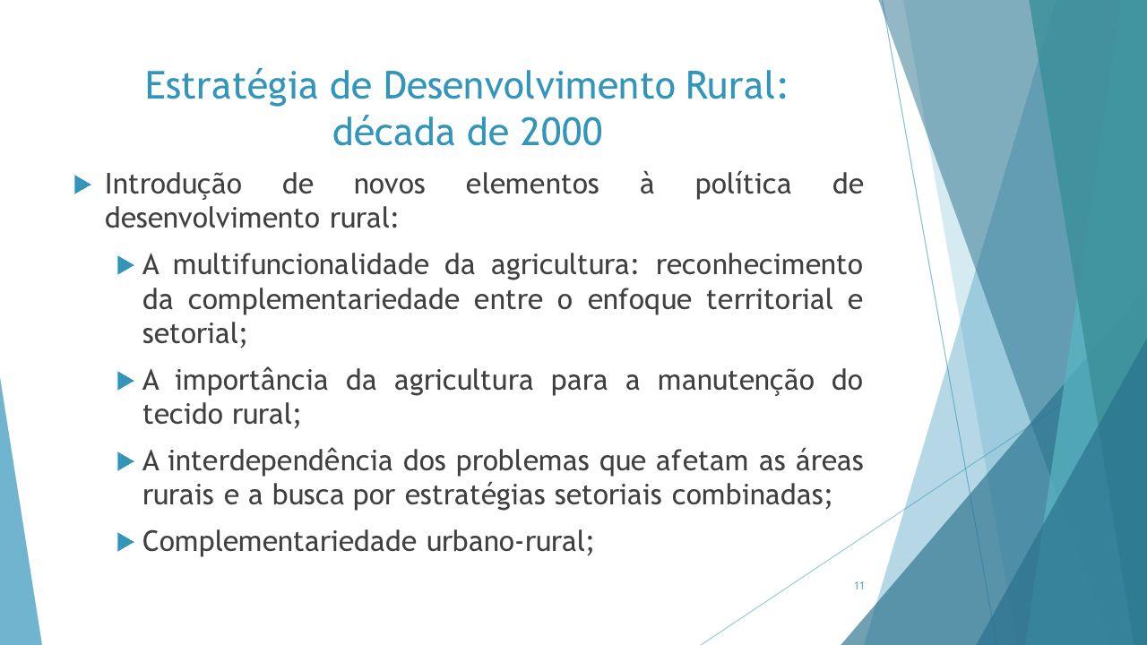 Estratégia de Desenvolvimento Rural: década de 2000  Introdução de novos elementos à política de desenvolvimento rural:  A multifuncionalidade da ag