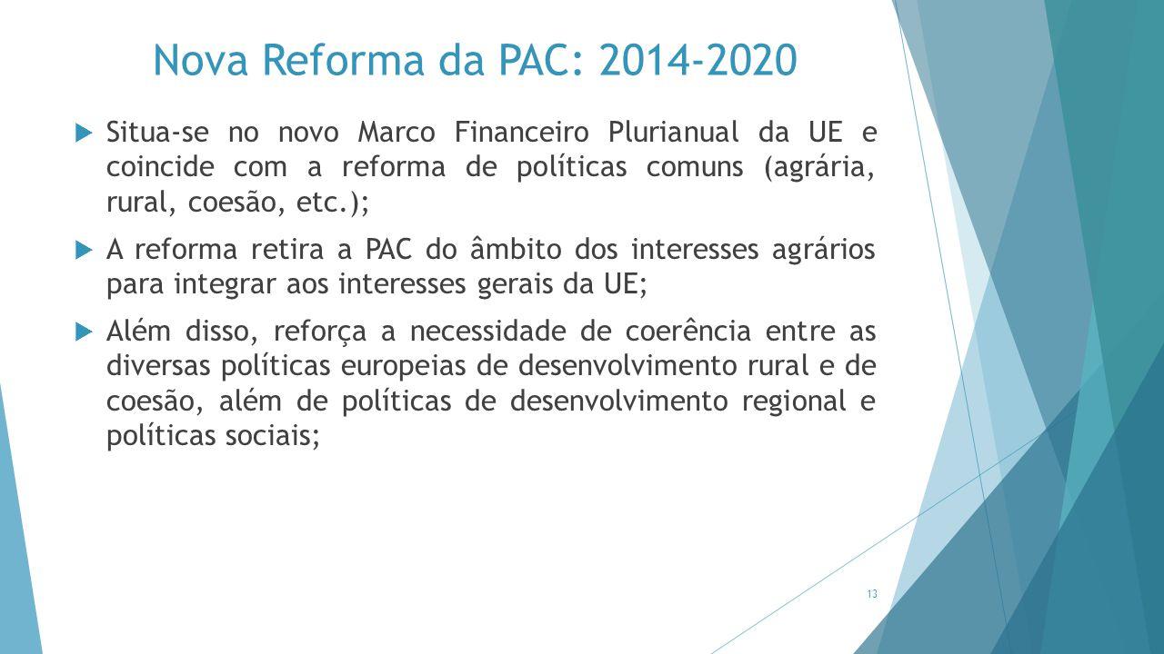 Nova Reforma da PAC: 2014-2020  Situa-se no novo Marco Financeiro Plurianual da UE e coincide com a reforma de políticas comuns (agrária, rural, coes