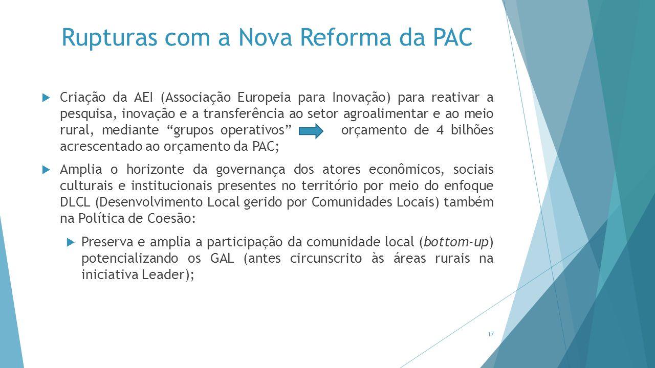 Rupturas com a Nova Reforma da PAC  Criação da AEI (Associação Europeia para Inovação) para reativar a pesquisa, inovação e a transferência ao setor