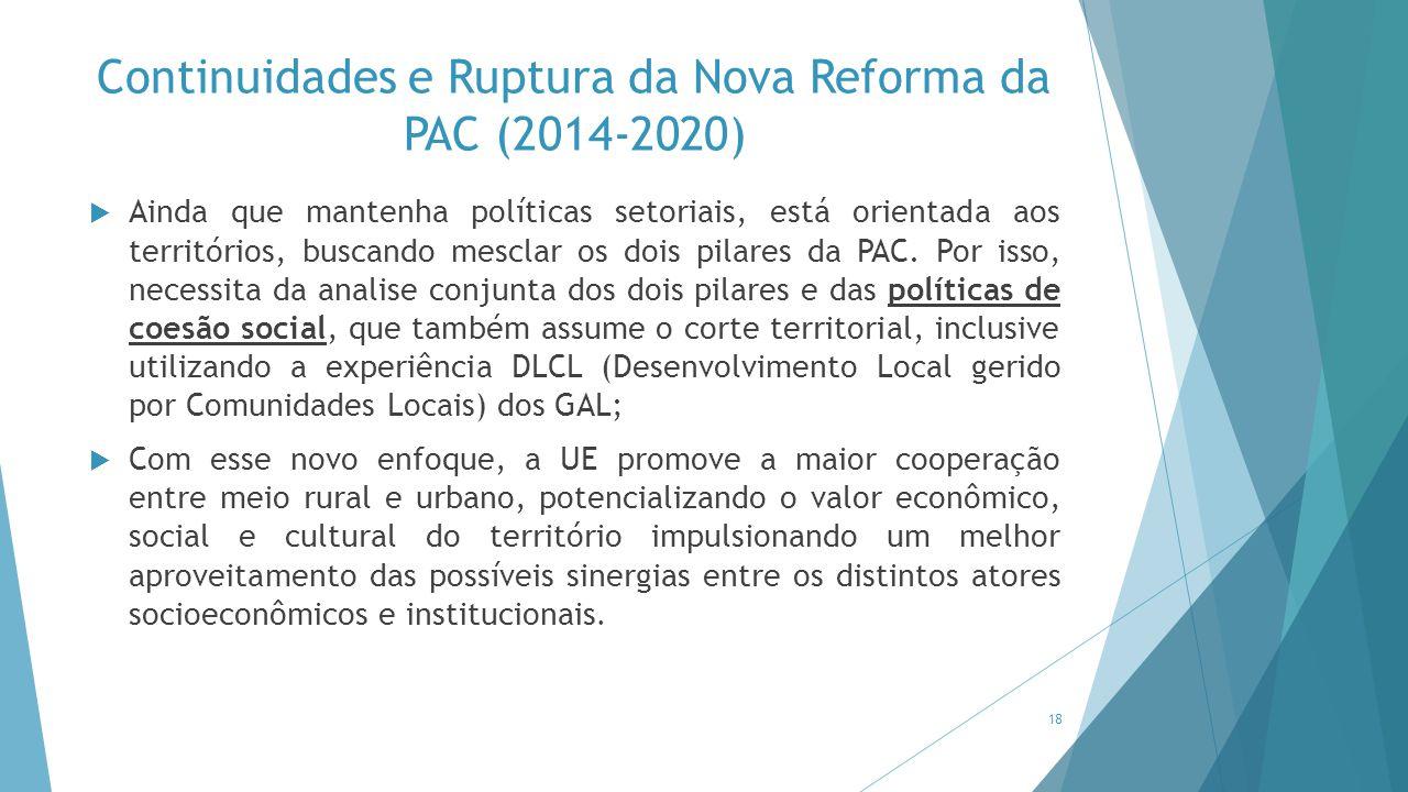 Continuidades e Ruptura da Nova Reforma da PAC (2014-2020)  Ainda que mantenha políticas setoriais, está orientada aos territórios, buscando mesclar