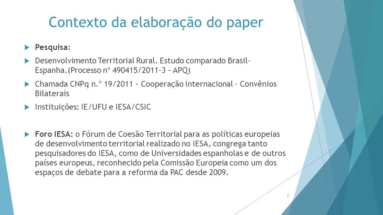 Contexto da elaboração do paper  Pesquisa:  Desenvolvimento Territorial Rural. Estudo comparado Brasil- Espanha.(Processo nº 490415/2011-3 – APQ) 