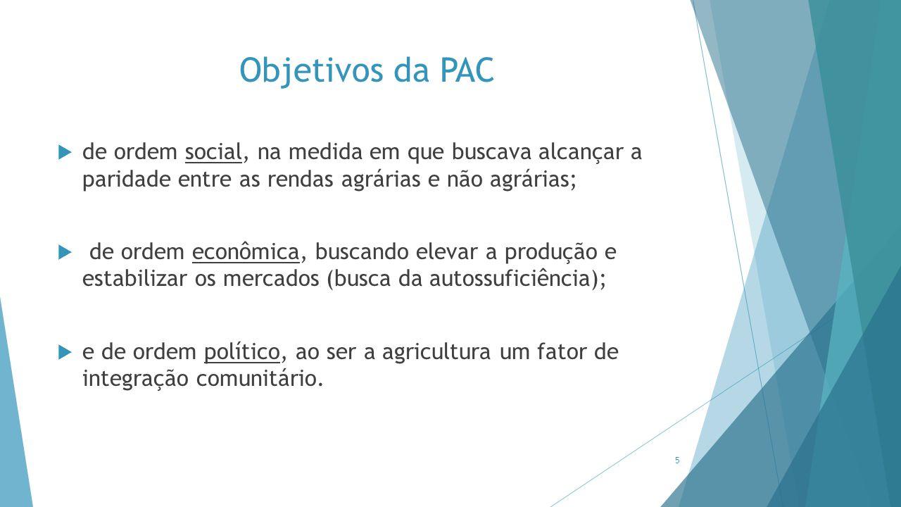 Objetivos da PAC  de ordem social, na medida em que buscava alcançar a paridade entre as rendas agrárias e não agrárias;  de ordem econômica, buscan
