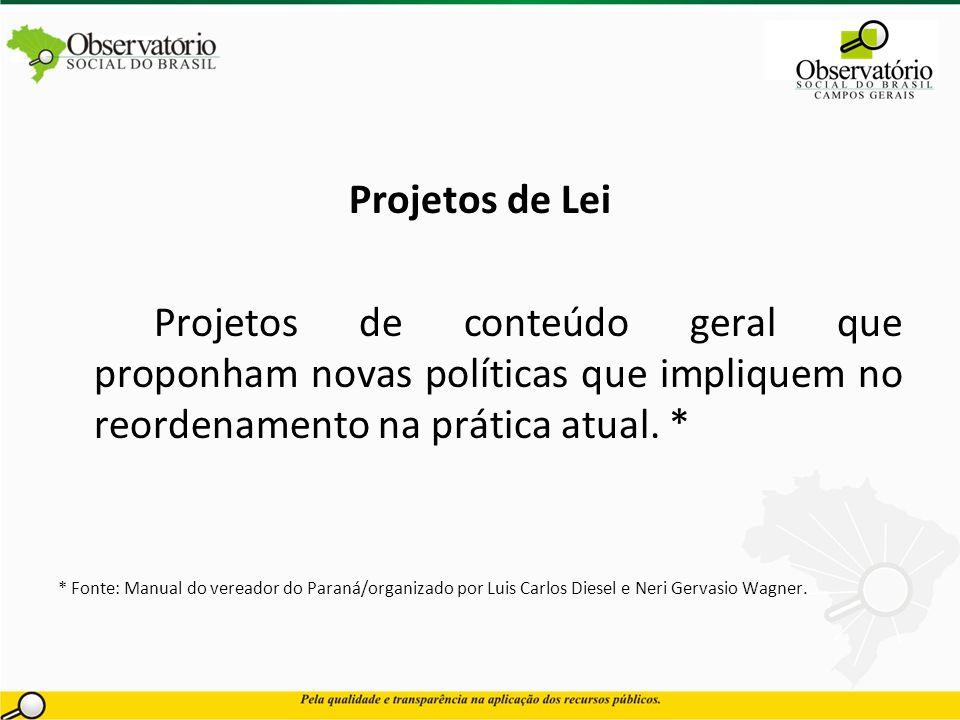 Projetos de Lei Projetos de conteúdo geral que proponham novas políticas que impliquem no reordenamento na prática atual. * * Fonte: Manual do vereado