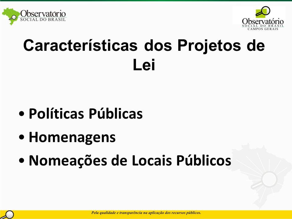 Características dos Projetos de Lei Políticas Públicas Homenagens Nomeações de Locais Públicos