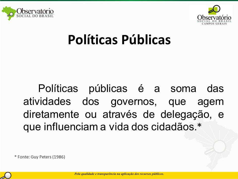 Políticas Públicas Políticas públicas é a soma das atividades dos governos, que agem diretamente ou através de delegação, e que influenciam a vida dos