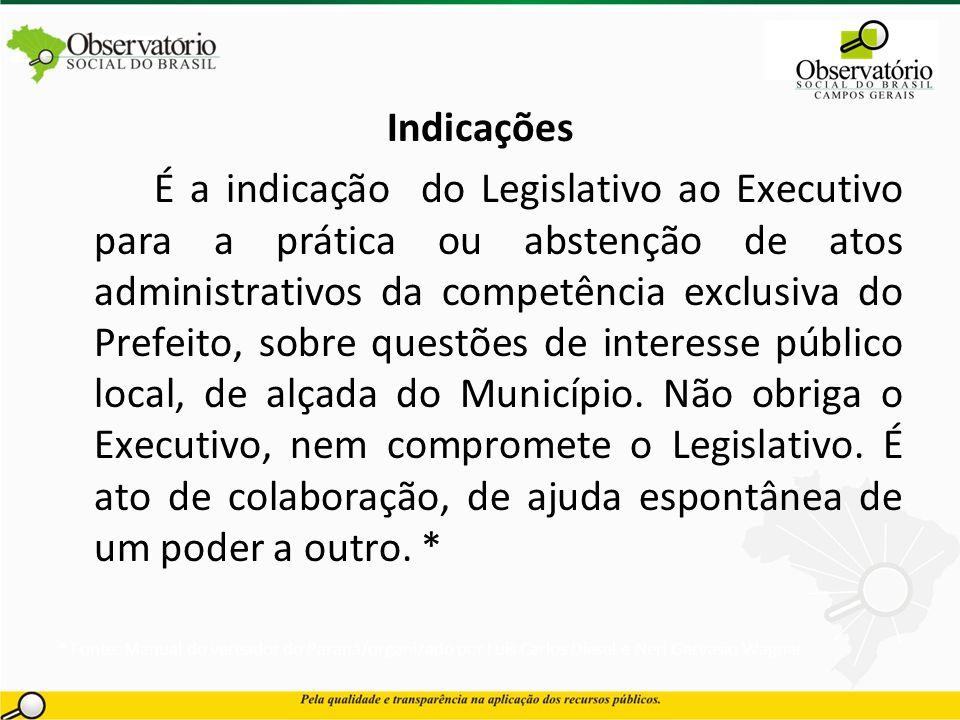 Indicações É a indicação do Legislativo ao Executivo para a prática ou abstenção de atos administrativos da competência exclusiva do Prefeito, sobre q