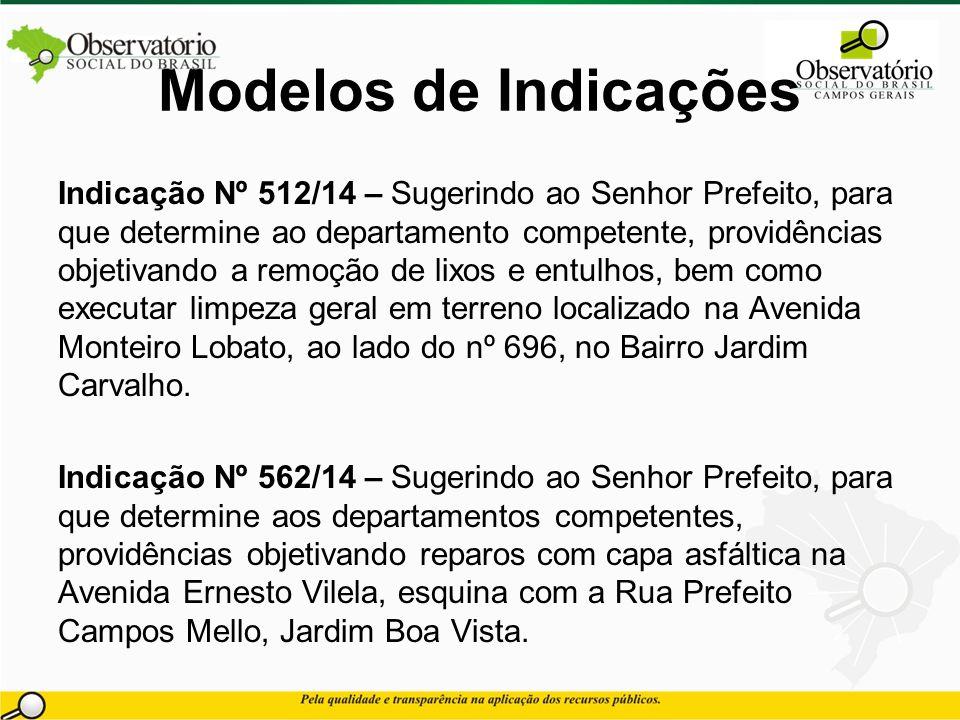 Modelos de Indicações Indicação Nº 512/14 – Sugerindo ao Senhor Prefeito, para que determine ao departamento competente, providências objetivando a re