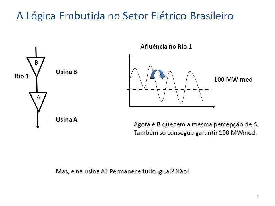 A 100 MW med Rio 1 Usina A B Usina B Agora é B que tem a mesma percepção de A.