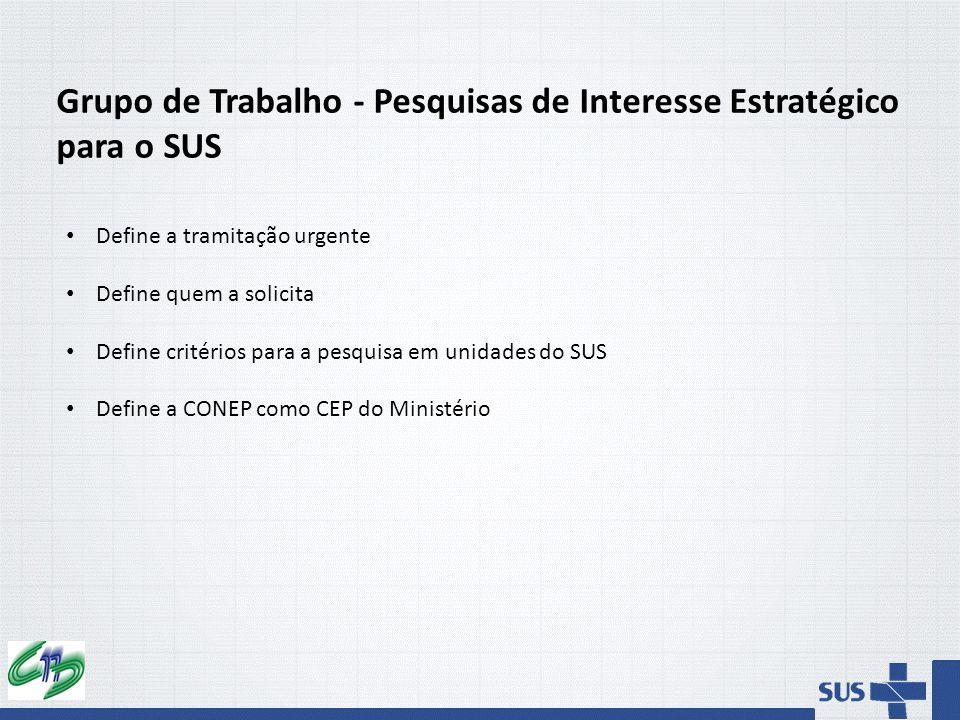 Grupo de Trabalho - Pesquisas de Interesse Estratégico para o SUS Define a tramitação urgente Define quem a solicita Define critérios para a pesquisa