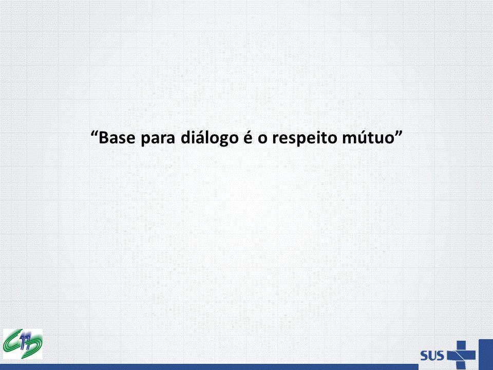 """""""Base para diálogo é o respeito mútuo"""""""