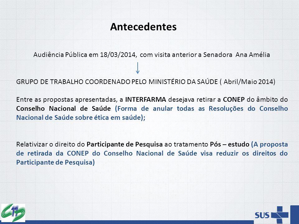 Antecedentes Audiência Pública em 18/03/2014, com visita anterior a Senadora Ana Amélia GRUPO DE TRABALHO COORDENADO PELO MINISTÉRIO DA SAÚDE ( Abril/
