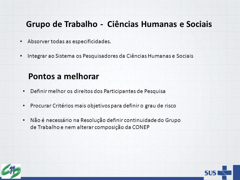 Grupo de Trabalho - Ciências Humanas e Sociais Absorver todas as especificidades. Integrar ao Sistema os Pesquisadores da Ciências Humanas e Sociais P