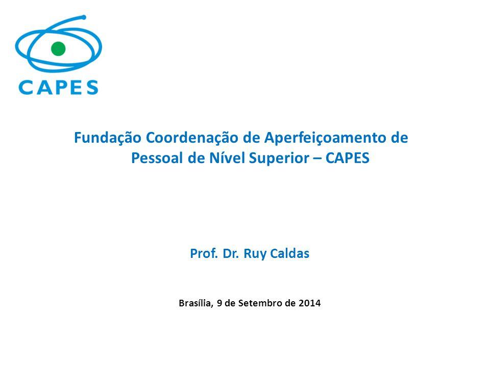 Prof. Dr. Ruy Caldas Brasília, 9 de Setembro de 2014 Fundação Coordenação de Aperfeiçoamento de Pessoal de Nível Superior – CAPES