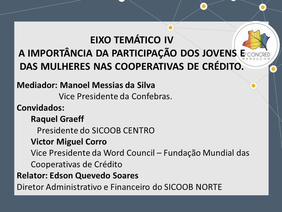 EIXO TEMÁTICO IV A IMPORTÂNCIA DA PARTICIPAÇÃO DOS JOVENS E DAS MULHERES NAS COOPERATIVAS DE CRÉDITO.