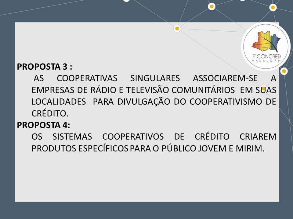 PROPOSTA 5: A OCB E OS SISTEMAS COOPERATIVISTAS DE CRÉDITO RECOMENDAR A SUAS COOPERATIVAS SINGULARES E CENTRAIS A PARTICIPAÇÃO DE MULHERES E JOVENS ATÉ 35 ANOS NOS ORGÃOS DE DIREÇÃO: CONSELHOS DE ADMINISTRAÇÃO, FISCAL E NAS DIRETORIAS EXECUTIVAS.