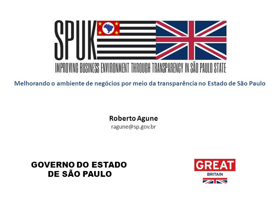 Melhorando o ambiente de negócios por meio da transparência no Estado de São Paulo Roberto Agune ragune@sp.gov.br GOVERNO DO ESTADO DE SÃO PAULO