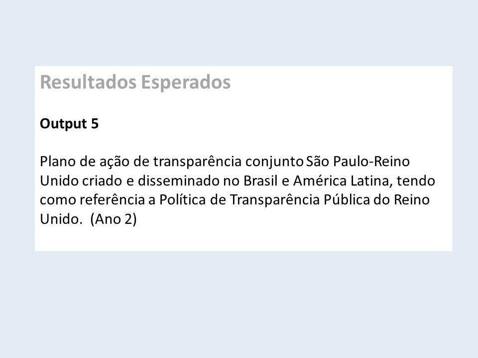 Resultados Esperados Output 5 Plano de ação de transparência conjunto São Paulo-Reino Unido criado e disseminado no Brasil e América Latina, tendo como referência a Política de Transparência Pública do Reino Unido.