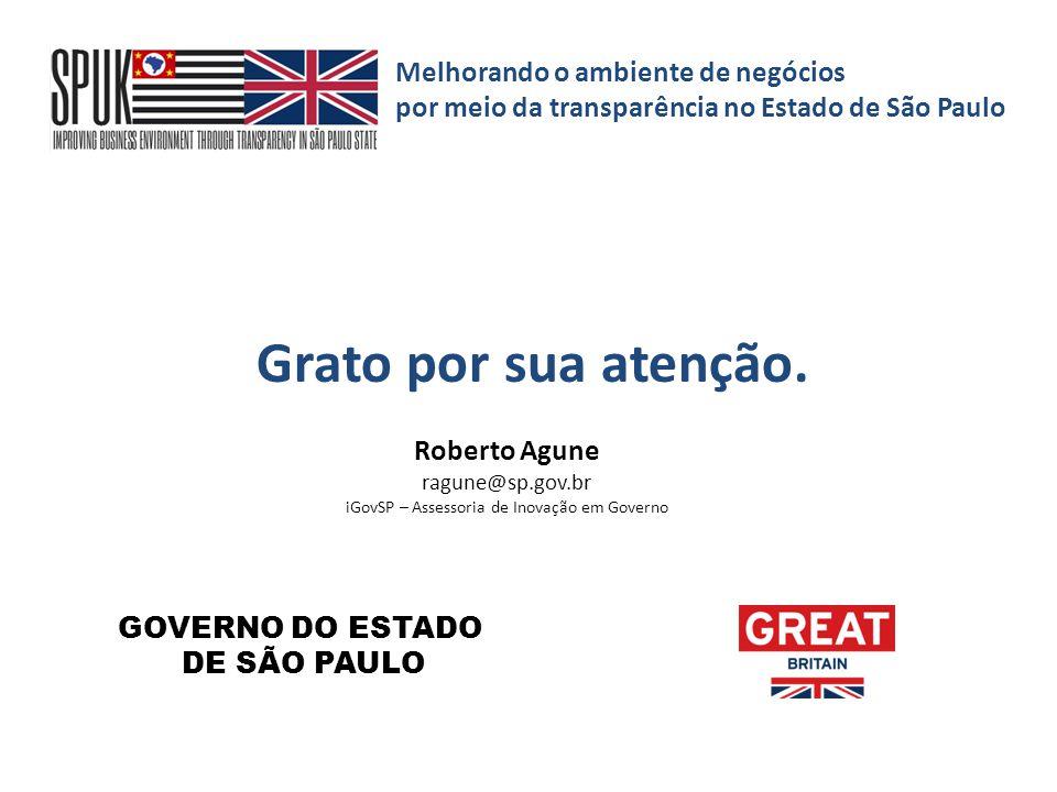 Melhorando o ambiente de negócios por meio da transparência no Estado de São Paulo Roberto Agune ragune@sp.gov.br iGovSP – Assessoria de Inovação em G