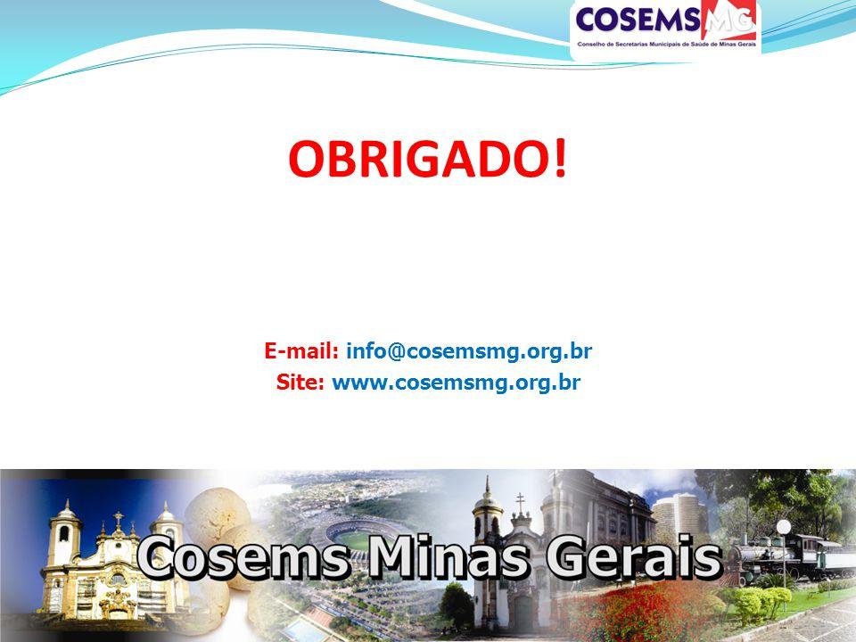 OBRIGADO! E-mail: info@cosemsmg.org.br Site: www.cosemsmg.org.br